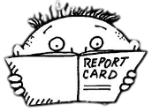 Woried boy with report card